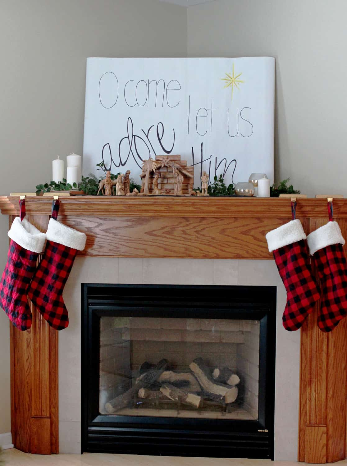 Corner Christmas Fireplace