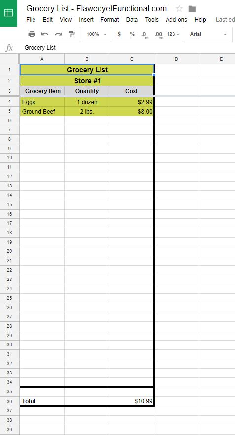 Google Sheet Grocery List