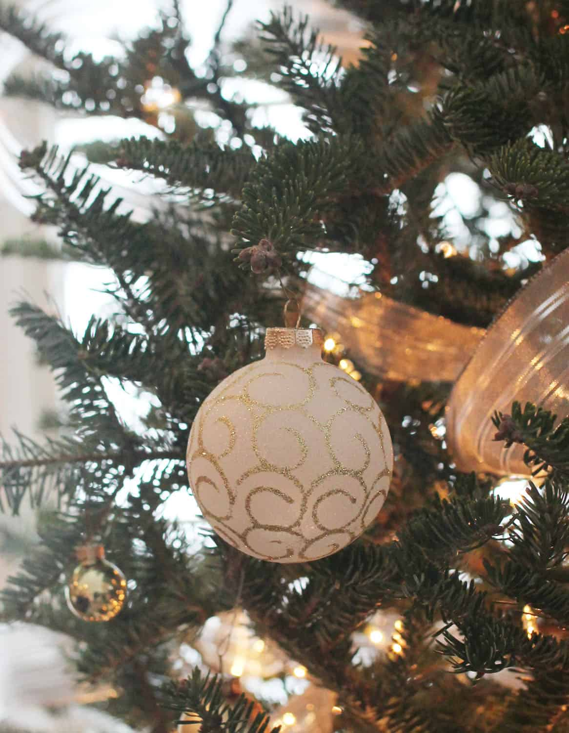 Gold White Ball Ornament