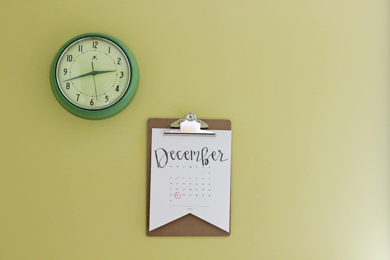 clock calendar in schoolroom