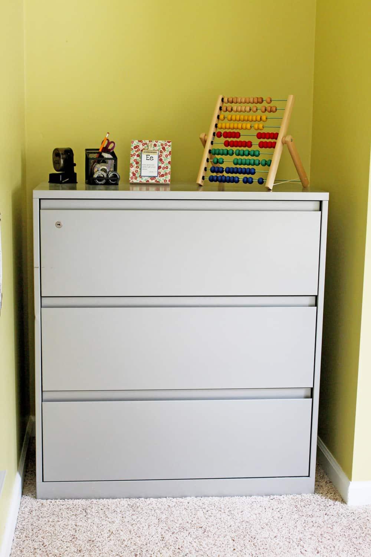 file cabinet in schoolroom