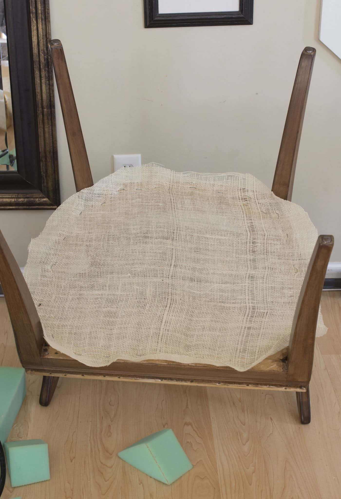 Reupholstered Side Chair Bottom Burlap