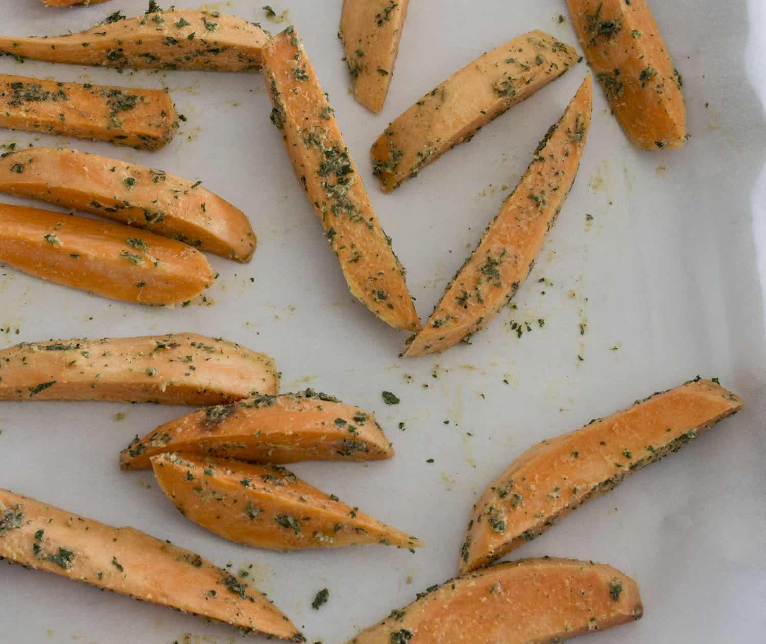sweet potato fries on pan