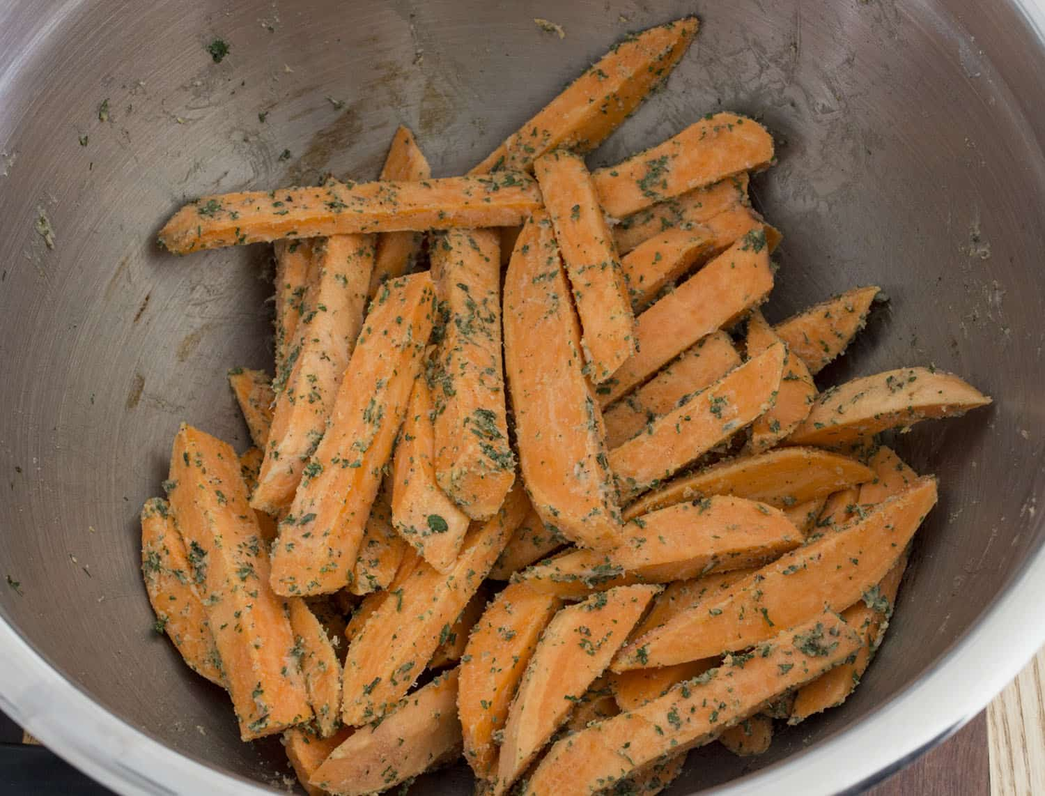 sweet potato fries seasoned