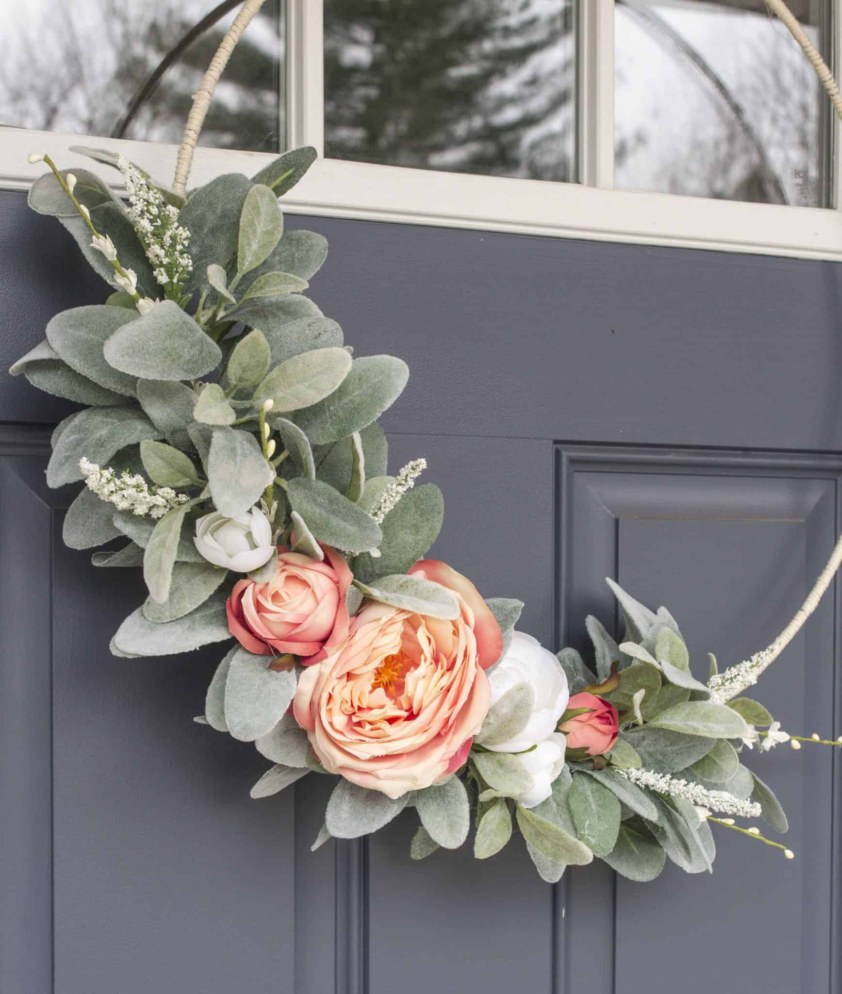 Faux Rose Spring Wreath