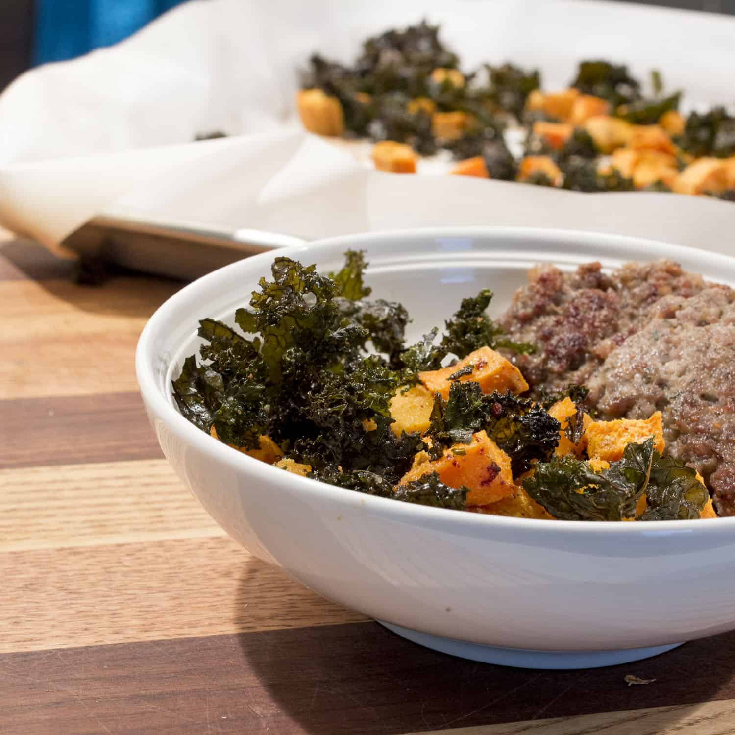 Roasted Sweet Potatoes and Kale Chips